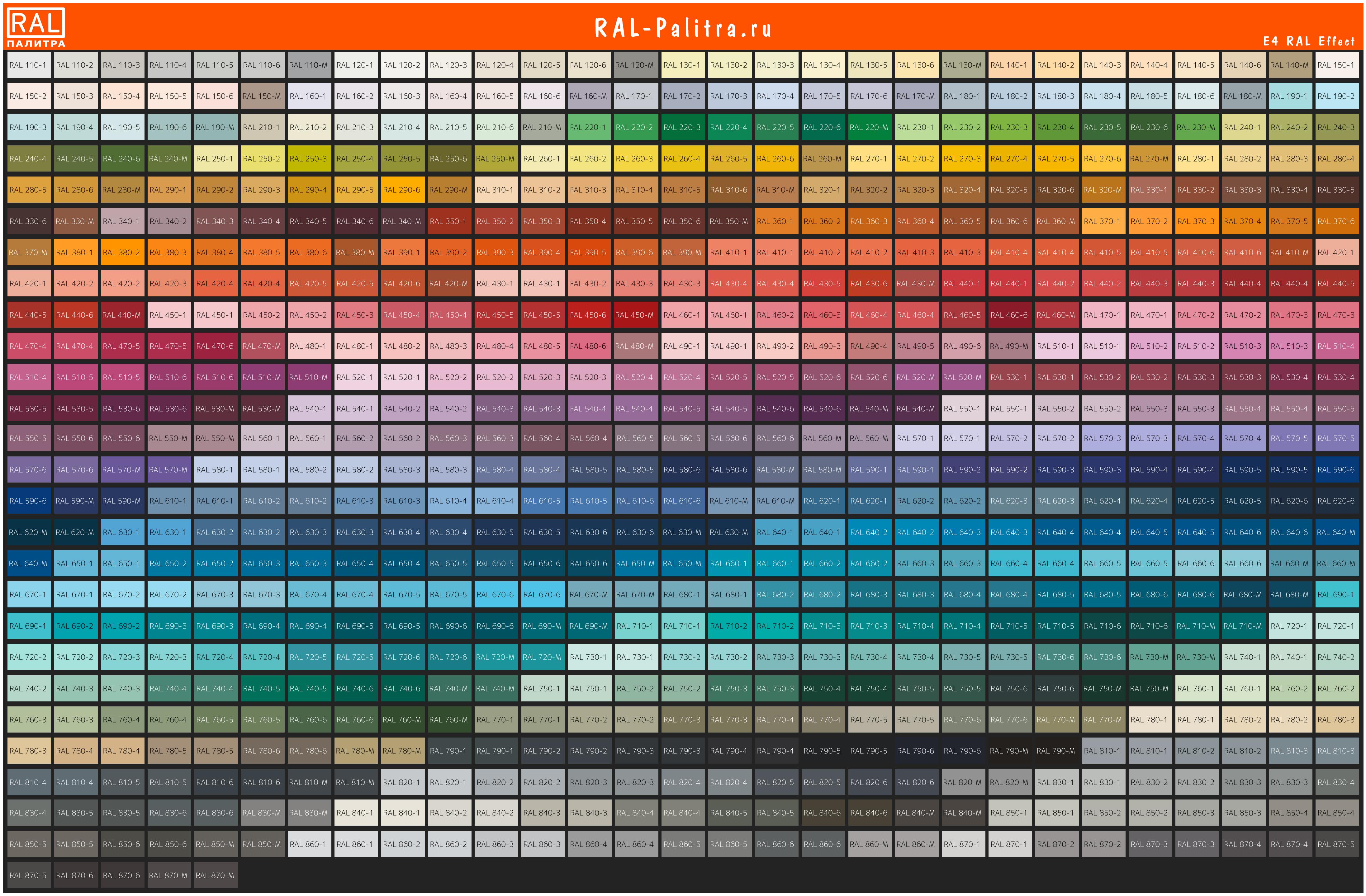 E4 RAL Effect таблица цветов